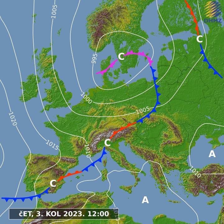 Europa - Satellite Eumetsat previsione a 24 h pressione atmosferica