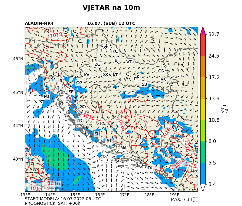 DHMZ ALADIN prognostičke karte Hrvatska