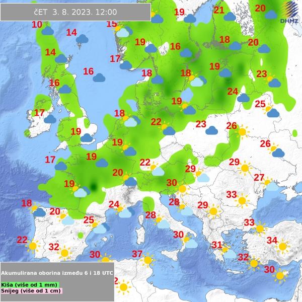 Wettervorhersage Europa vom kroatischen Wetterdienst DHMZ